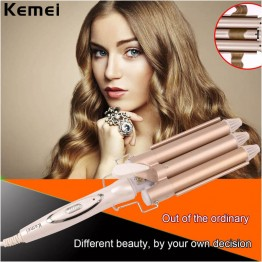 110-240V Professional Triple Barrel Ceramic  Hair Wave Waver Curling Iron Wand Tong Hair Pearl Waving Styling Tools Twiste Iron