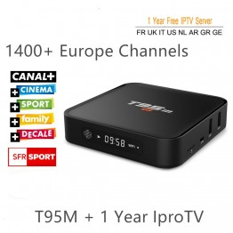1 Year Europe French Arabic IPTV Quad Core S905 Android 6.0 TV Box T95M with iprotv Account 1400 Live TV Canal plus Free test