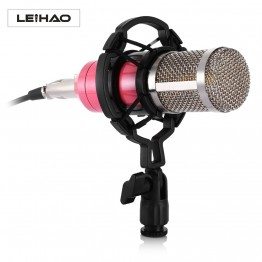 2017 Newest LEIHAO Professional Condenser Microphone Sound Recording Microphone with Shock Mount for Radio Braodcasting Singing