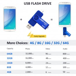 2017 The OTG usb flash drive Dual USB 2.0 gift  pen drive Usb stick 4GB 8GB 16GB 32GB 64GB memory stick pendrive Mobile u disk
