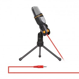 3.5mm Jack Audio Condenser Microphone Mic Studio Sound Recording Wired Microfone with Stand for Radio Braodcasting Singing