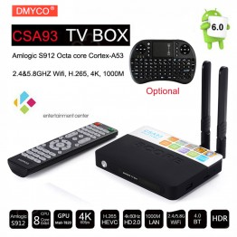 3GB/32GB CSA93 Amlogic S912 Octa Core Cortex-A53 Android 6.0 TV Box BT4.0 2.4G/5.8G Dual WiFi H.265 4K 1000M Smart Meida Player