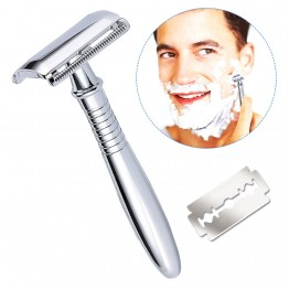 Breett Double Edge Long Handled Safety Razor Shave Kit for Men Classic Safety Razor Blade Comfortable Shaving Grooming