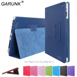 Case for iPad Air 2, GARUNK Matte Litchi Leather Flip Cover Smart Stand Protective Case for iPad 2 3 4 iPad 6 Tablet Accessories