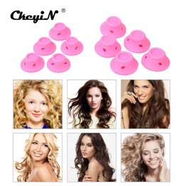 CkeyiN 10Pcs Silicone No Clip Pink Hair Curlers Rollers DIY Magic Spiral Curling Iron Wand Curl Styler Hair Styling Tools HS67P