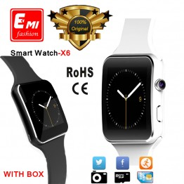 E-MI Bluetooth Smart Watch X6 E6 Smartwatch sport watch For Apple iPhone ios Android Phone With Camera Support SIM Card P130