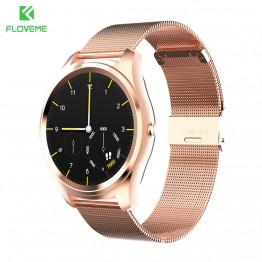 FLOVEME K7 Bluetooth Smart Watch Man Woman Watch Full Stainless Steel Wristwatch For iPhone IOS Samsung Android Gold Smartwatch