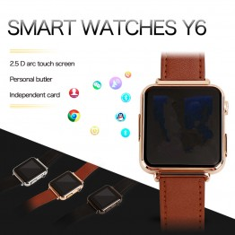 Fuster 2017 Y6 Smart Watch with 2.0M Camera support SIM card and TF Card for Android and IOS phone 2.5D Touch Screen Smartwatch