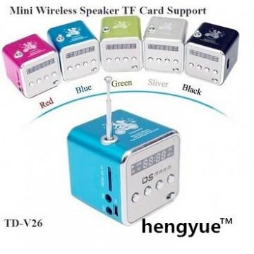 HENGYU TD-V26 Mini Speaker Portable Digital LCD Sound Micro SD / TF FM RadioMusic Stereo Loudspeaker for Laptop Mobile Phone MP332788049036