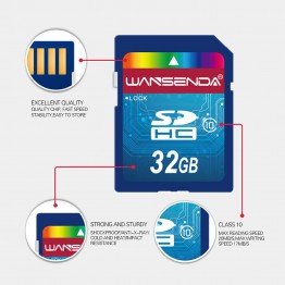Hot sale Wansenda Full size SD card 64GB 32GB 16GB SDHC Card SD Card flash Memory Card 8GB 4GB universal for digital camera