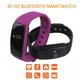 ID107 Bluetooth Smart Watch Heart Rate Monitor Pedometer Wristband Fitness Tracker Remote Camera Smart Bracelet for Android iOS