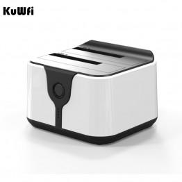 "Kuwfi Dual Hard Disk Docking  for 2.5""/3.5"" SATA  HDD Enclosure USB3.0 5G High Speed 2 Bay Card Reader External Storage Box"