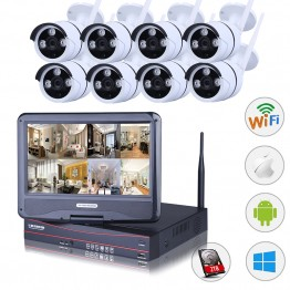 LEF 8CH NVR Wireless CCTV System 8PCS 720P Outdoor Camera  with 10 inch LCD Monitor P2P Security Camera Kit