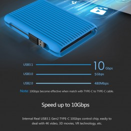 ORICO 1TB USB3.1 Gen2 TYPE-C 2.5 Inch 10Gbps High-Speed Shockproof External Hard Drives HDD Desktop Laptop Mobile Hard Disk