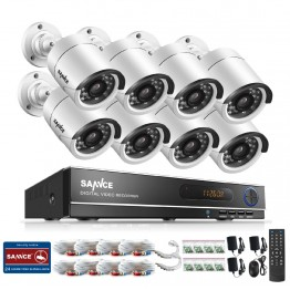 SANNCE 8CH 720P AHD DVR 8PCS 1.0MP  IR Weatherproof Outdoor Camera Home Security System Surveillance Kits Email Alert