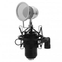 TGETH BM-8000 Sound Studio Recording Condenser Wired Microphone With 3.5mm Plug Stand Holder Pop Filter For KTV Karaoke