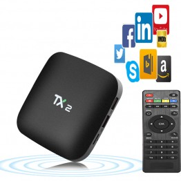 TX2 - R2 Android 6.0 Smart TV Box BT 2.0 KD Player 2G 16G ARM Cortex-A7 RK3229 32Bit 2.4GHz WiFi 4K x 2K Smart Media Player