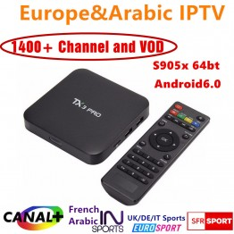 TX3 pro wifi TV Box with IPROTV server 1 Year Europe French Arabic Italy IPTV subscription account 1400 TV Channels Canal plus