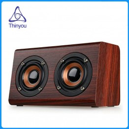 Thinyou Wooden Wireless Bluetooth Speaker Portable Mini 3D HiFi Dual Music box Loudspeakers USB Speakers handsfree TF AUX