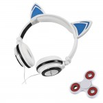 Tri-Spinner Fidget and Foldable Flashing Glowing cat ear headphones Gaming Headset Earphone with LED light For PC Mobile Phone