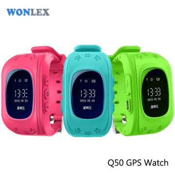Wonlex Anti Lost Q50 OLED Child GPS Tracker SOS Smart Monitoring Positioning Phone Kids GPS Watch Compatible with IOS & Android